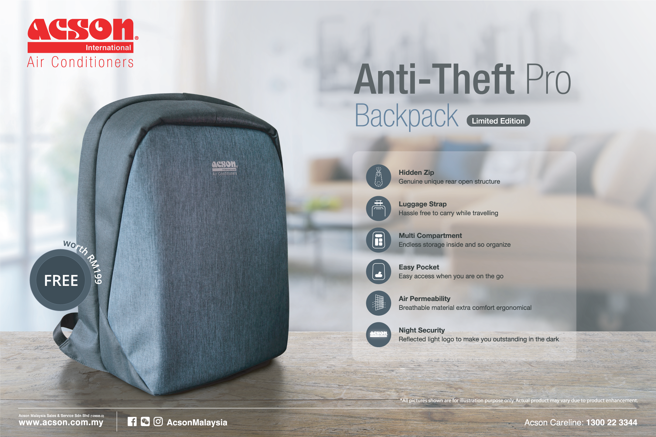 Complimentary Gift Acson Anti Theft Pro Backpack Worth